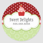 Strawberry Cupcake Bakery Cake Box Seals Round Sticker
