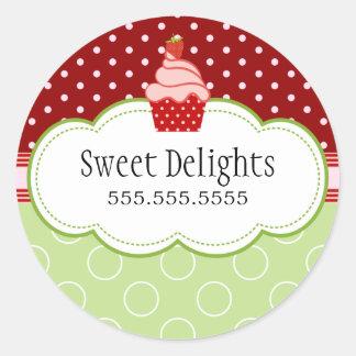 Strawberry Cupcake Bakery Cake Box Seals Round Stickers