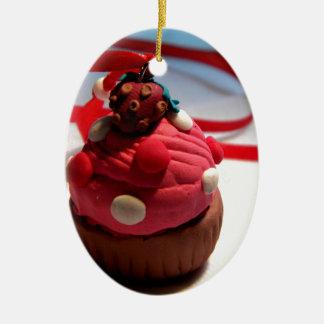Strawberry Cupcake Ceramic Oval Decoration