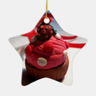 Strawberry Cupcake Ceramic Star Decoration