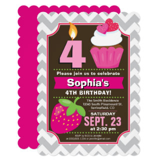 Strawberry Cupcake Girl Birthday Invitation
