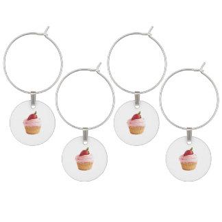 Strawberry cupcake motif wine charm