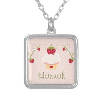 Strawberry Cupcake Necklace Custom Pink
