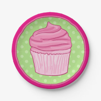 Strawberry Cupcake Party Plate 7 Inch Paper Plate