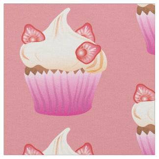 Strawberry cupcake pattern fabric