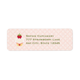 Strawberry Cupcake Return Address Labels