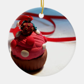 Strawberry Cupcake Round Ceramic Decoration
