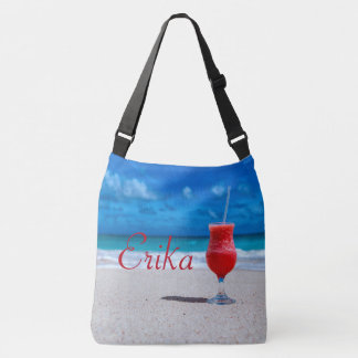 Strawberry Daiquiri Caribbean Beach Personalised Crossbody Bag