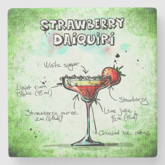 Strawberry Daiquiri Drink Recipe Stone Coaster