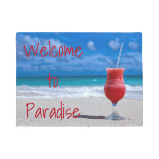 Strawberry Daiquiri Tropical Punch Caribbean Beach Doormat