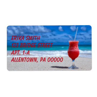 Strawberry Daiquiri Tropical Punch Caribbean Beach Shipping Label