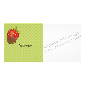 Strawberry dipped in chocolate picture card