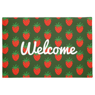 Strawberry door mat with custom welcome text