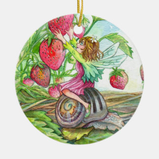 Strawberry Fairy Ceramic Ornament
