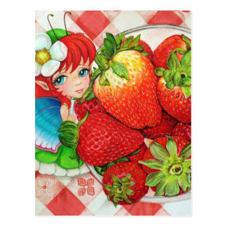 Strawberry Fairy Picnic Art Print Postcard