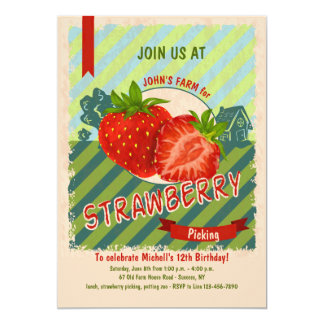 Strawberry Farm Invitation