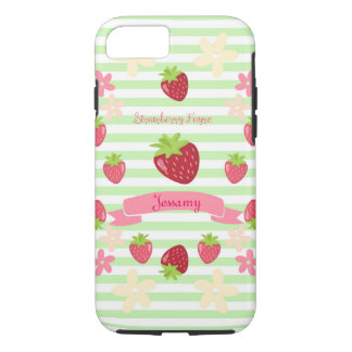 Strawberry Fayre Berry Floral Mint Stripe iPhone 7 Case