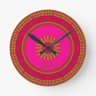 Strawberry Fields Checks Monogrammed Round Clock