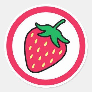 Strawberry flavor visual circle sticker labels