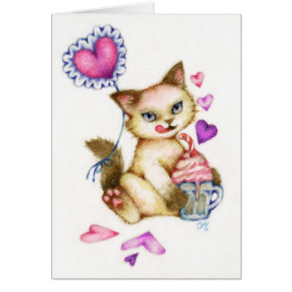 Strawberry Float - Siamese Valentine Cat Art Card