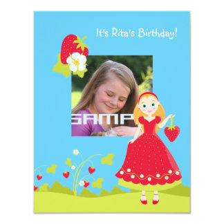 Strawberry Girl Birthday Party invitation