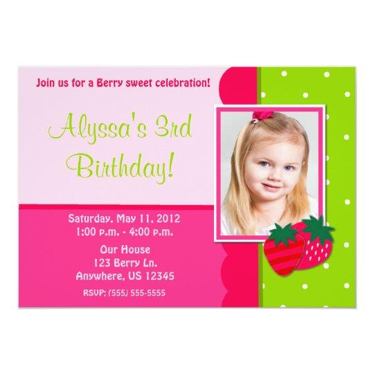 Strawberry Girls Photo Birthday Invitation