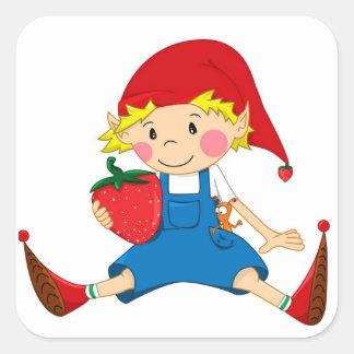 Strawberry Gnome Square Sticker