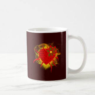 Strawberry heart fire strawberry heart fire mugs