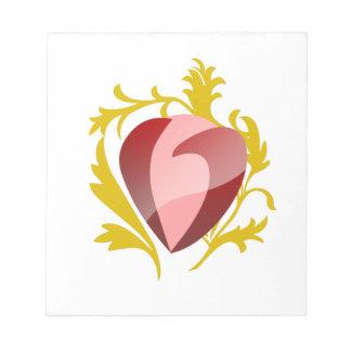 strawberry heart notepad