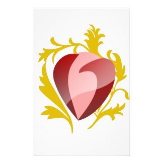 strawberry heart stationery