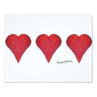 Strawberry Hearts 11 Cm X 14 Cm Invitation Card