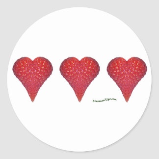 Strawberry Hearts Round Sticker