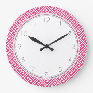 Strawberry Hot Pink Greek Key Pattern Large Clock