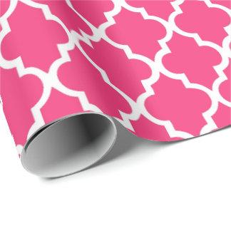 Strawberry Hot Pink Quatrefoil Tiles Pattern