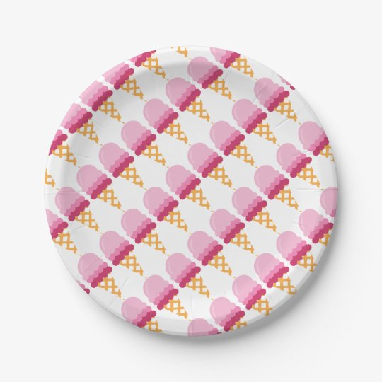 Strawberry ice cream paper plate