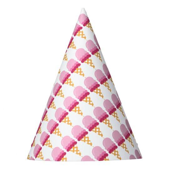 Strawberry ice cream party hat