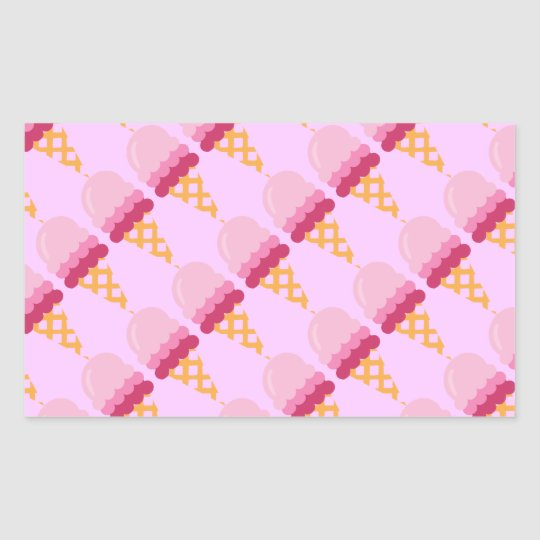 Strawberry ice cream rectangular sticker