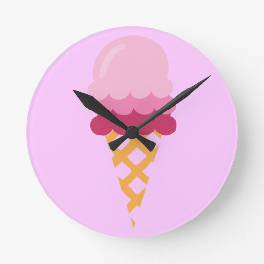 Strawberry ice cream round clock