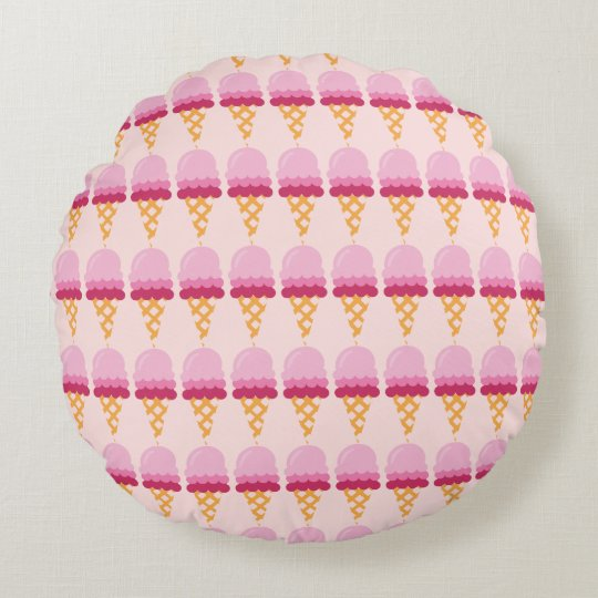 Strawberry ice cream round cushion