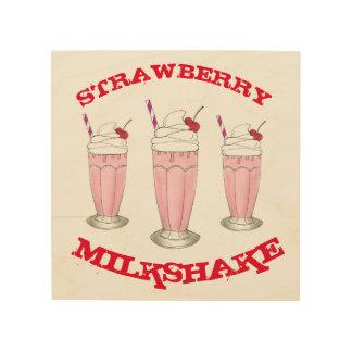 Strawberry Ice Cream Shake Milkshake Kitchen Diner Wood Wall Art