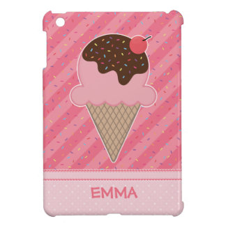 Strawberry Ice Cream + Sprinkles + Your Text Cover For The iPad Mini
