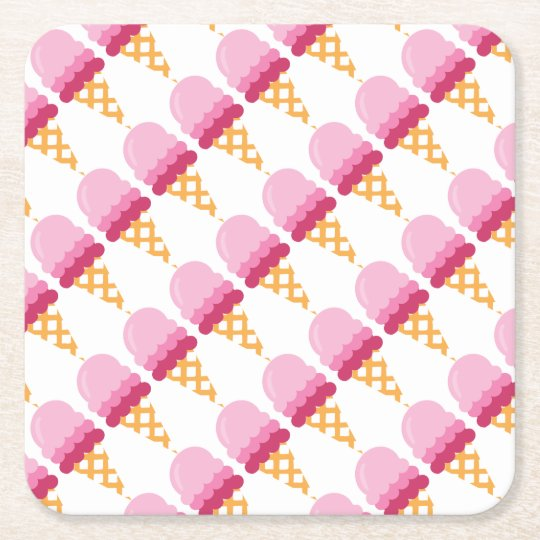 Strawberry ice cream square paper coaster