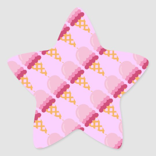 Strawberry ice cream star sticker