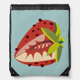 Strawberry illustration drawstring bag
