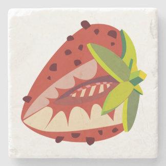 Strawberry illustration stone coaster