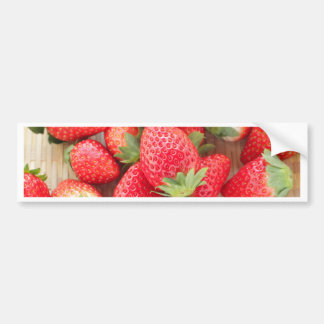 Strawberry in basket-postcard for the agricultural bumper sticker
