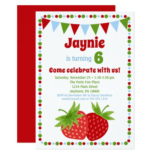 Strawberry Invitation Girls Birthday Party