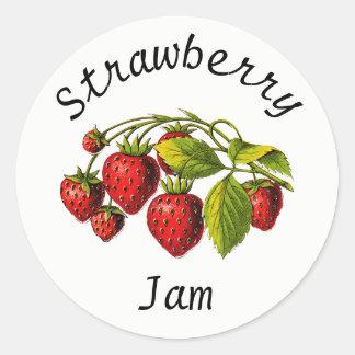Strawberry Jam Canning Jar Label Round Sticker