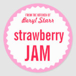 Strawberry Jam Home Canning Label Template Round Sticker