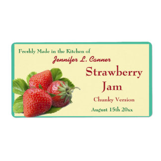 Strawberry Jam or Preserves 2 Canning Jar Shipping Label